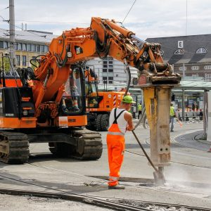 site, construction workers, tram
